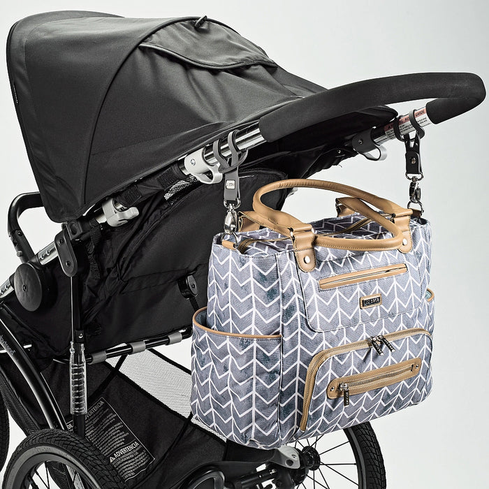 JJ Cole Caprice Diaper Bag - Grey Chevron Slate (DISCOUNTED) - Preggy Plus