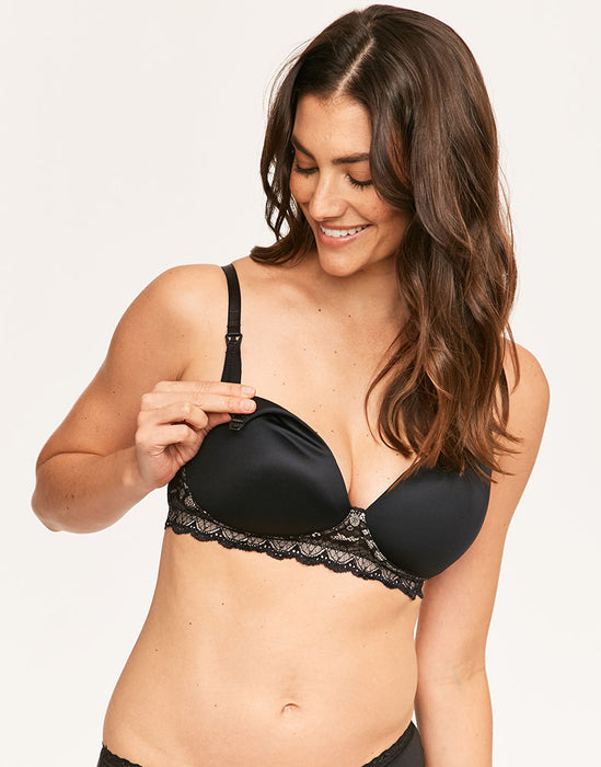 Hotmilk - Captivation Black Contour Nursing Bra - Wirefree - Preggy Plus