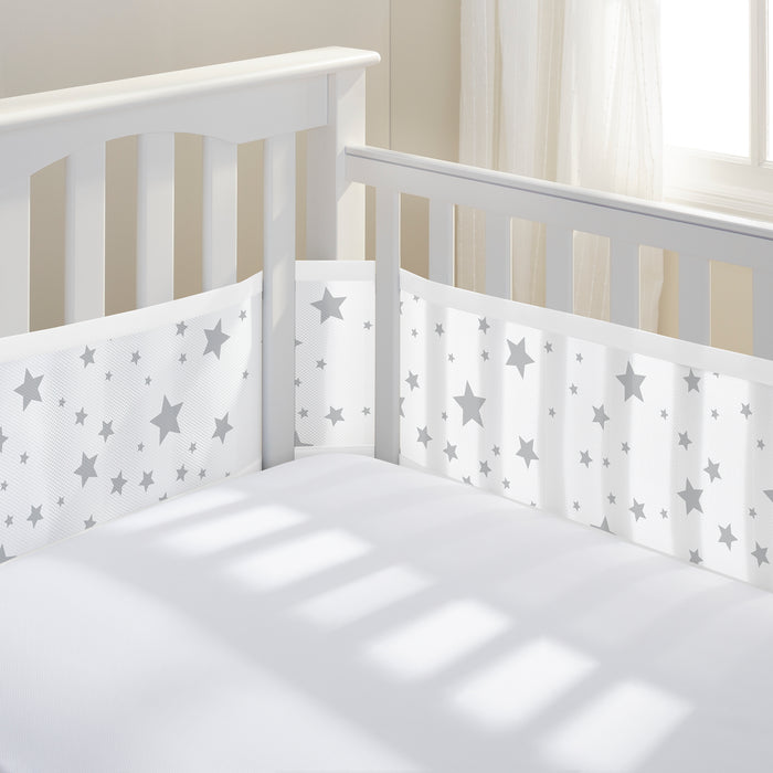 BreathableBaby Classic Breathable Mesh Crib Liner - Star Grey - Preggy Plus