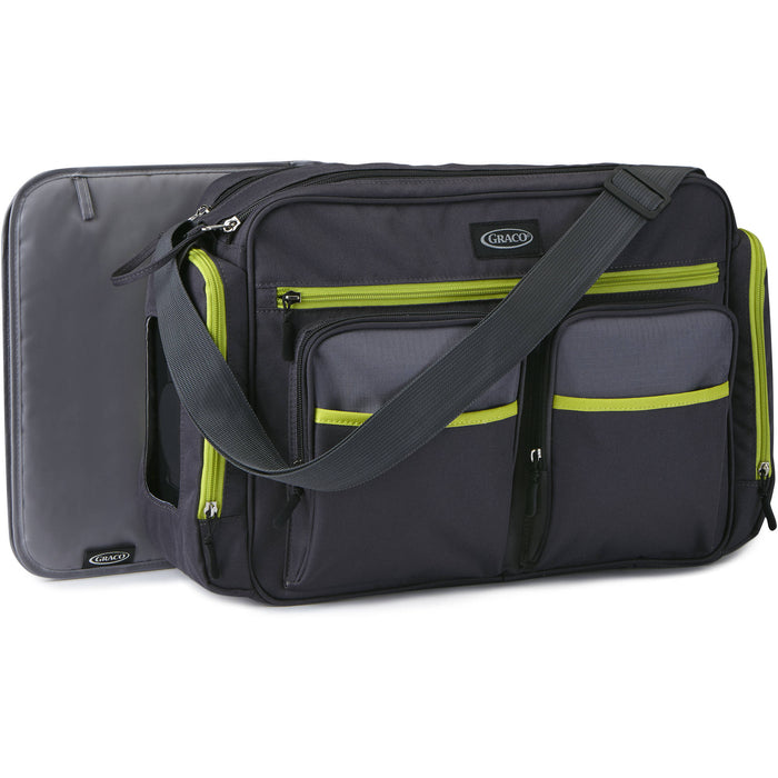 Graco Places and Spaces Duffel Diaper Bag, Grey/Green - Preggy Plus