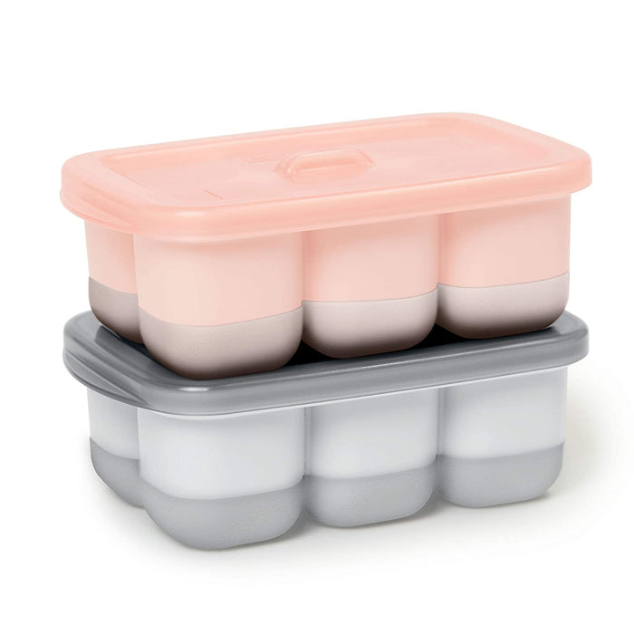 Easy-Fill Freezer Trays, Grey/Coral - Preggy Plus