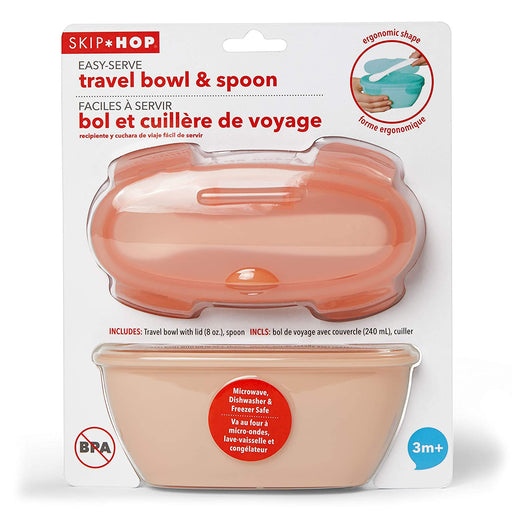 Skip Hop Easy-Serve Travel Bowl & Spoon, Coral - Preggy Plus