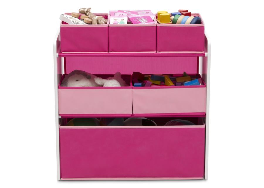 Design and Store 6 Bin Toy Organizer - White/Pink - Preggy Plus