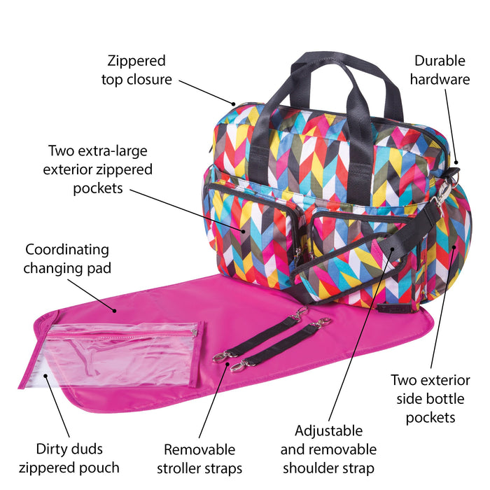 Trend Lab French Bull® Ziggy Condensed Deluxe Duffle Diaper Bag - Preggy Plus