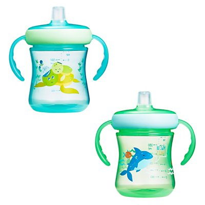 The First Years Soft Spout Trainer Cups 7 Oz - 2 Pack - Underwater (2pk) - Preggy Plus