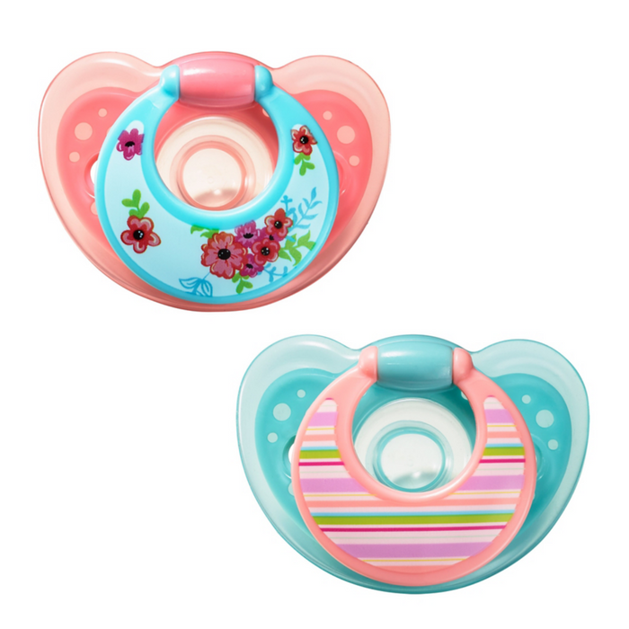 GumDrop 6-18m Pacifiers (2-pack) pink/purple - Preggy Plus