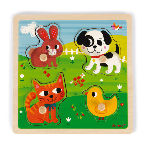 Janod Tactile Puzzle: My First Animals (Wood) - Preggy Plus