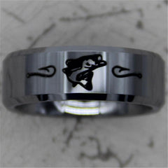 Polished 8MM Silver Bevel Comfort Fit Fishing Tungsten Ring