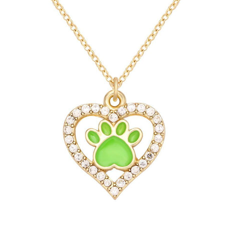 Glow in the Dark Dog Paw Heart Necklace - Trendy Outdoor Deals Store