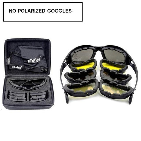 New- Daisy C5 Polarized Army Goggles, Military Sunglasses 4 Lens Kit, Men's War Game Tactical Glasses Outdoor Sports Set of 9