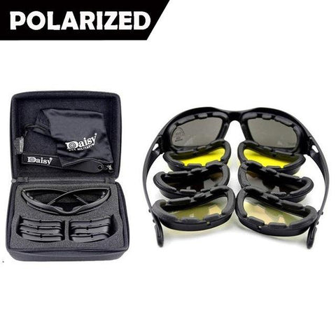New- Daisy C5 Polarized Army Goggles, Military Sunglasses 4 Lens Kit, Men's War Game Tactical Glasses Outdoor Sports Set of 9 - trendyoutdoordealsstore.com