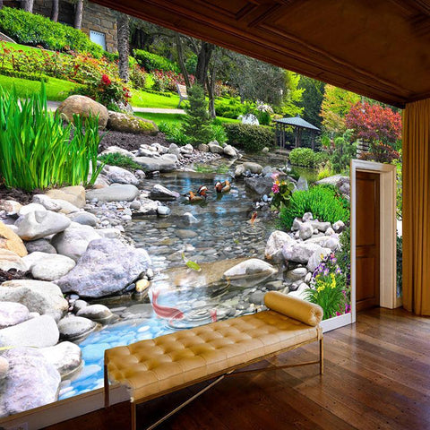 Wall Paper 3D Park Green Plant Creek Nature Landscape Wall Painting - Trendy Outdoor Deals Store