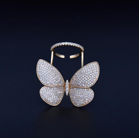 CRYSTAL STONES BUTTERFLY RING - Trendy Outdoor Deals Store