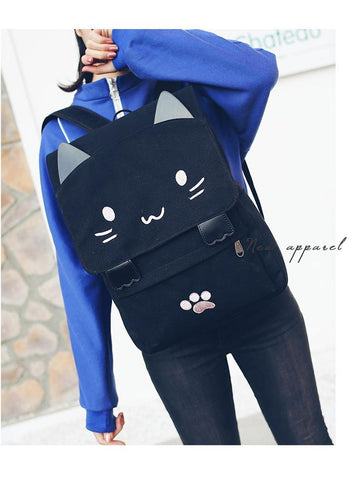 Embroidery Printing Black/Pink Cat Backpack - Trendy Outdoor Deals Store