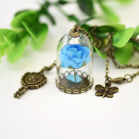 ENCHANTED ROSE IN A GLASS VIAL NECKLACE - Trendy Outdoor Deals Store