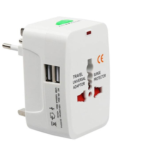 Universal Electric Plug  Travel Adapter 2 USB Power Charger Converter - Trendy Outdoor Deals Store