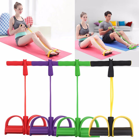 4-Tube Foot Pedal Resistance Band Elastic Fitness band Puller