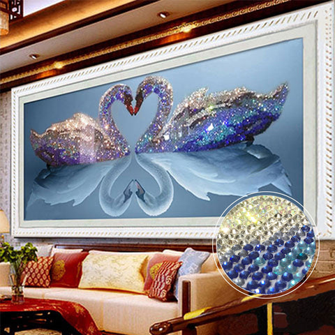Swan Embroidery Mosaic Art Needlework Diamond Painting Kit