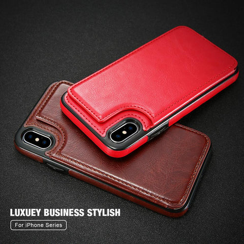 NEW-Retro PU Leather Case For iPhone 8 Plus Card Slot Holder Cover For iPhone X 8 7 6 6s Plus Luxury Protective Back