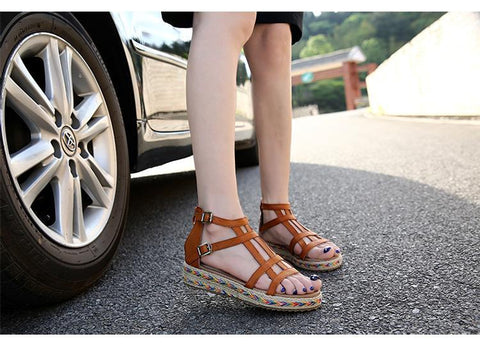 Ciara- Classic Handmade Straw Rope Ladies Sandals - Trendy Outdoor Deals Store