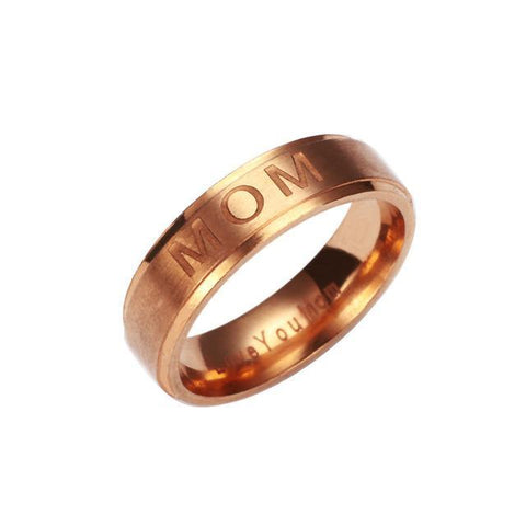 MOM Carving  Gold Stainless Steel Ring - Trendy Outdoor Deals Store