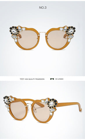 POLARIZED VINTAGE RHINESTONE CAT EYE SUNGLASSES - Trendy Outdoor Deals Store