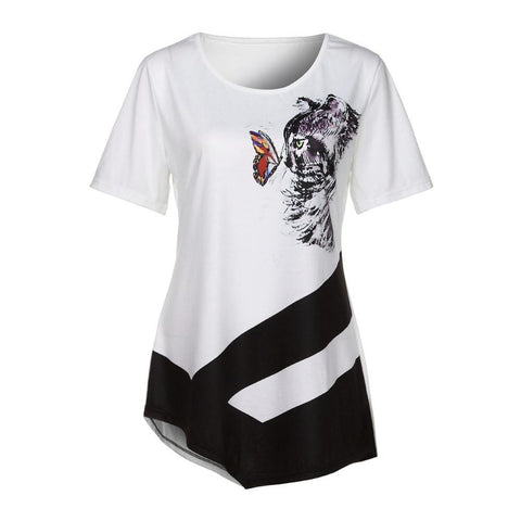 LOVELY BUTTERFLY & CAT SHORT SLEEVE ASYMMETRICAL TOP - Trendy Outdoor Deals Store