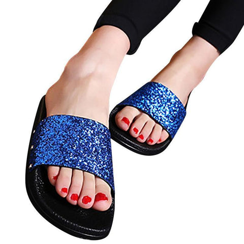 PEEP TOE GLITTER SLIPPERS - Trendy Outdoor Deals Store