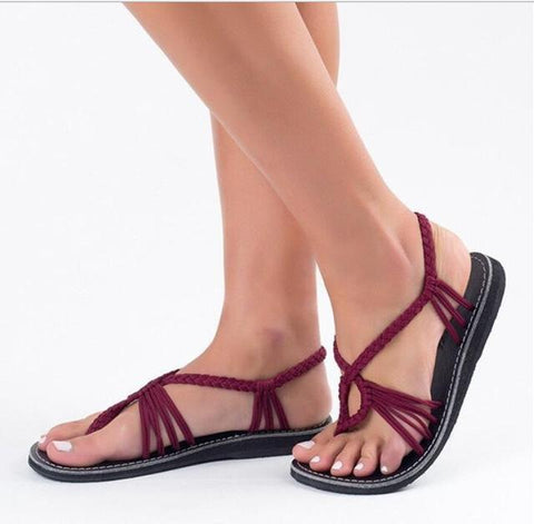 Handmade Breathable Bandage Beach Flat Sandals - Trendy Outdoor Deals Store