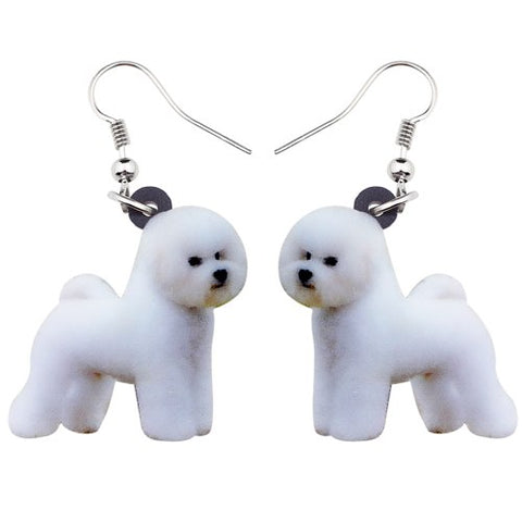 Lovely Bichon Frise Dog Earrings