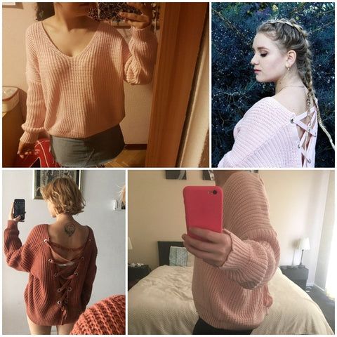 Sexy Backless knitting Sweater