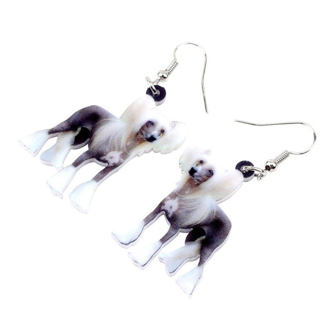 Elegant Chinese Crested Dog Earrings