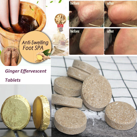 Ginger Effervescent Tablets Foot Care Treatment for  Swelling Ankle Pain - trendyoutdoordealsstore.com