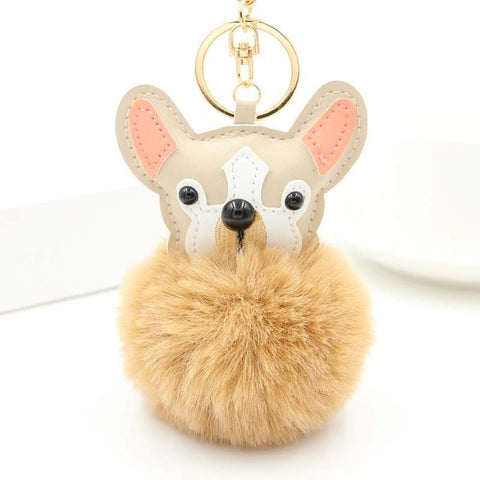 Fluffy French Bull Dog Charm Pom Pom Keychain