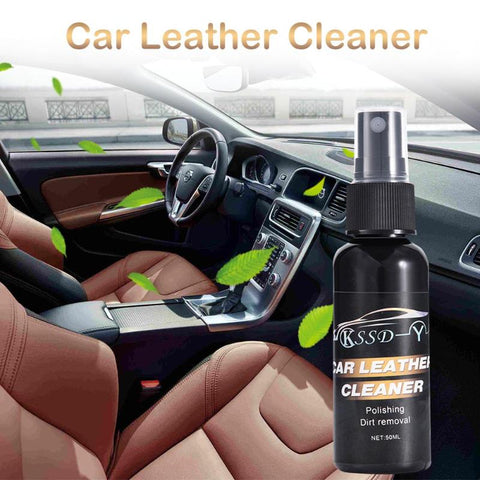 Car Interior Leather Surface Seat Polish Wax Dashboard Cleaner+Towel - trendyoutdoordealsstore.com