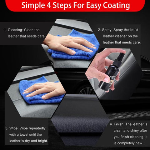 Car Interior Leather Surface Seat Polish Wax Dashboard Cleaner+Towel