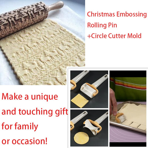 Square Fondant Cutter Mold +Christmas Embossing Rolling Pin- 1 set