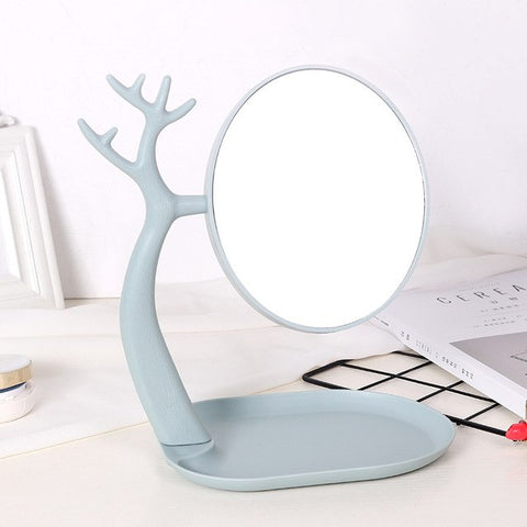 Rotating Cosmetic Mirror With Storage Box Stable