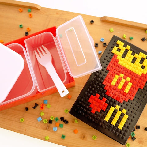 Plastic Kids Bricks DIY Pattern Bento Lunch Box With Fork