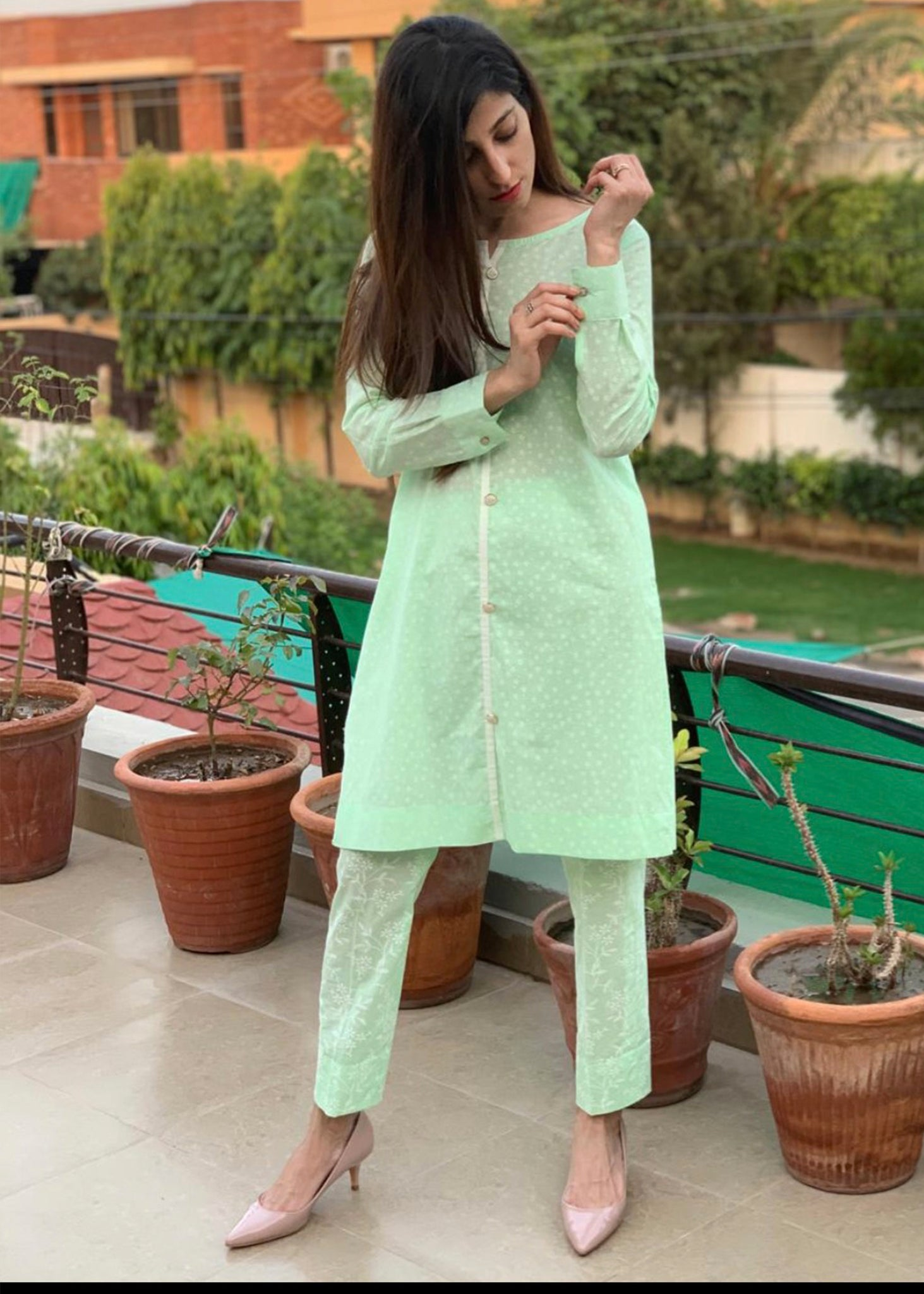 Green Co-Ord Set with Straight Pant