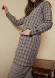 Grey and Black Checkered Co ord Set with Front Pockets