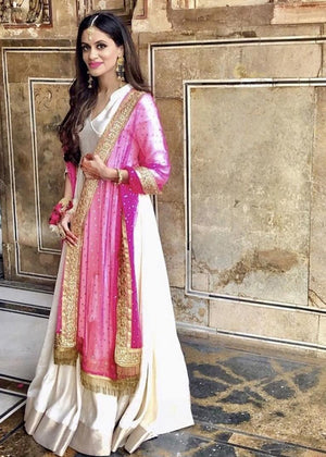 Hot Pink Festive Dupatta with Ivory Long Angrakha Style Dress