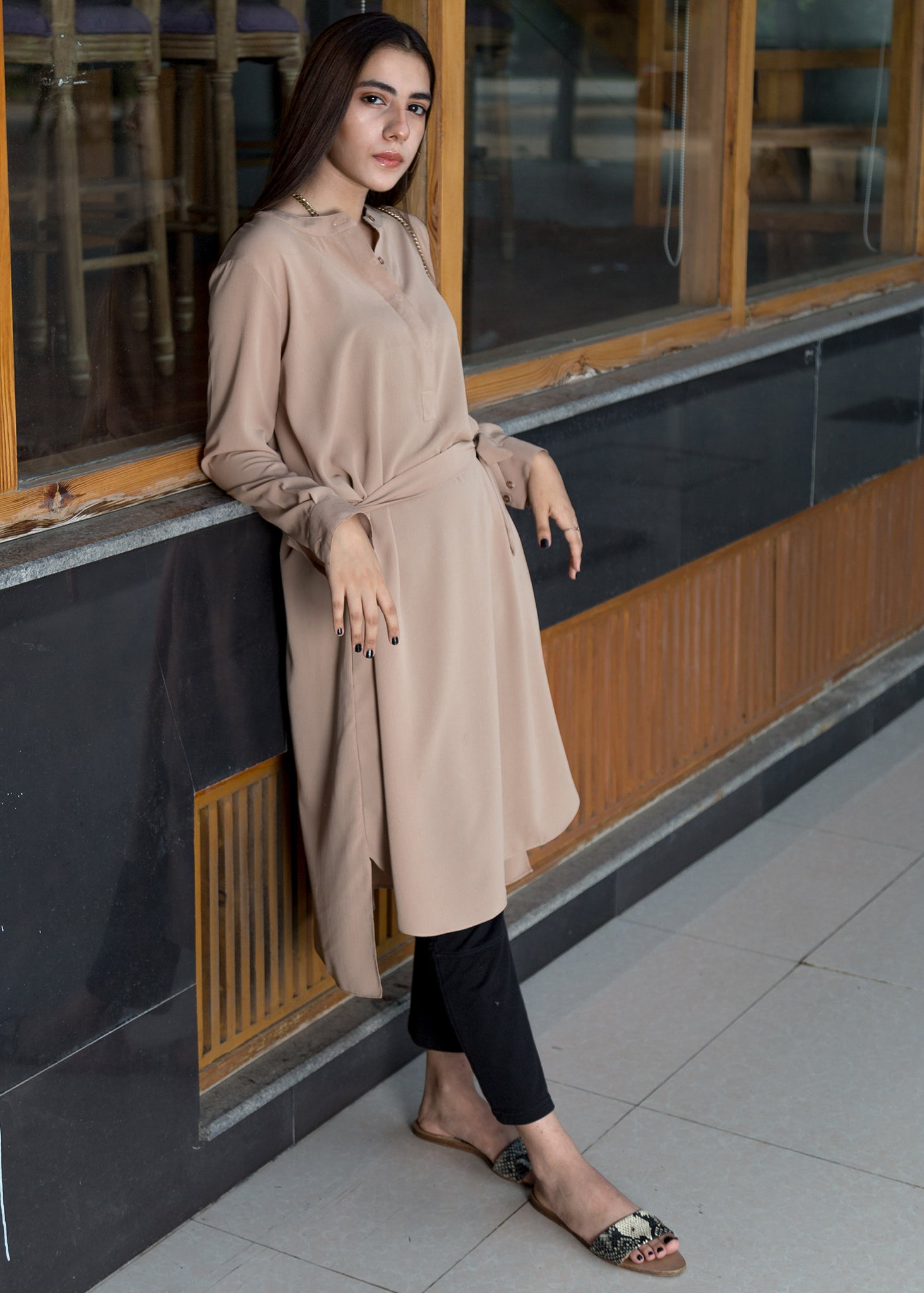 Sand Long Shirt with Belt