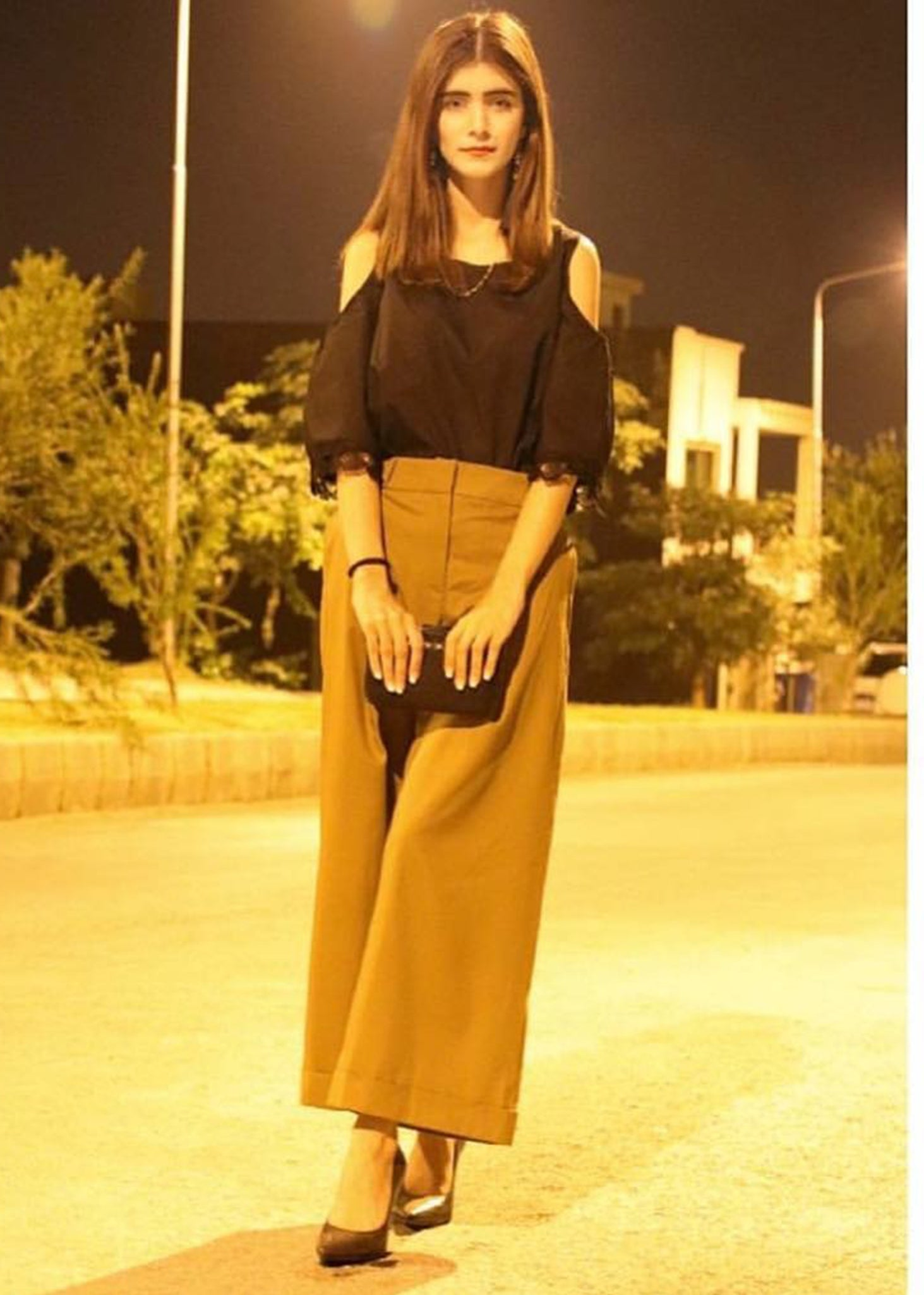 Black Cold Shoulder Top with Khaki Culottes
