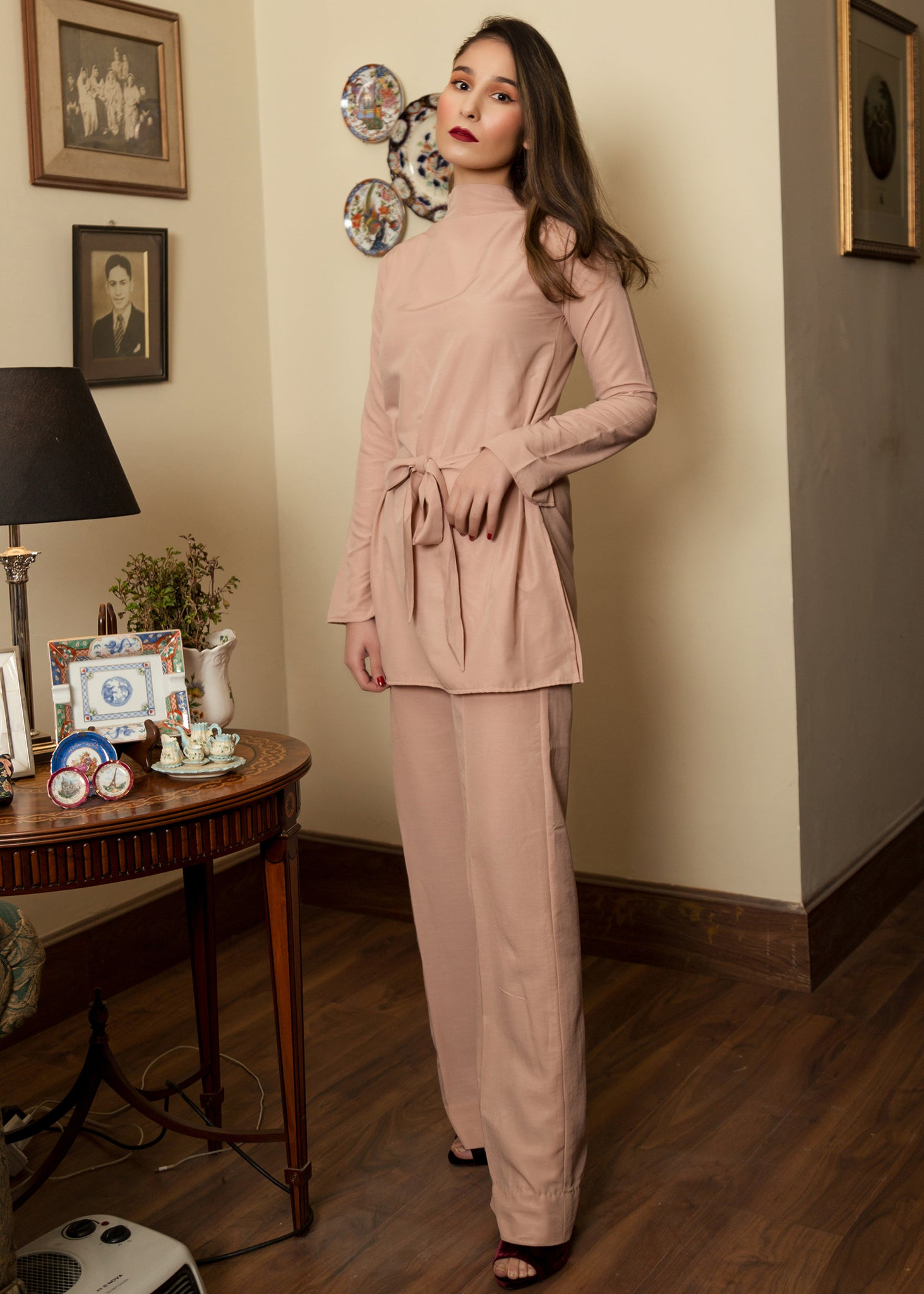 Tea Pink Co ord Set With Belt