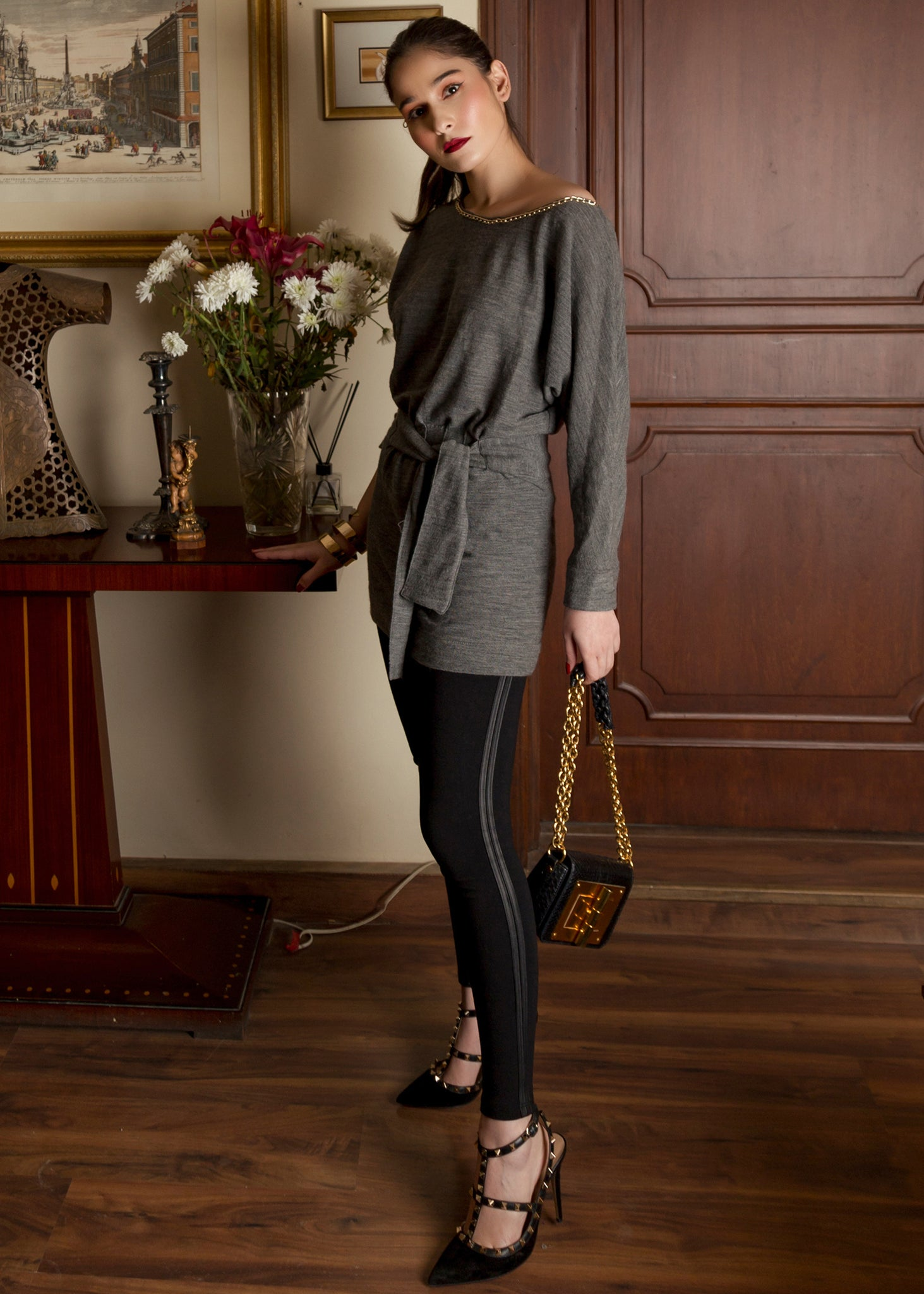 Grey Jersey Tunic with Chain Detail