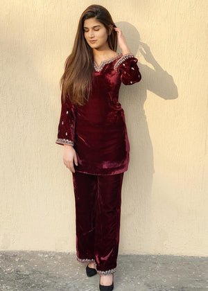 Maroon Velvet Set with Gold Embroidery and Mirror work with Flared Pants