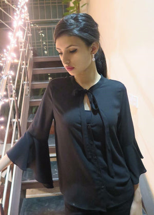 Black Ruffled Sleeve Top with Tie Knot