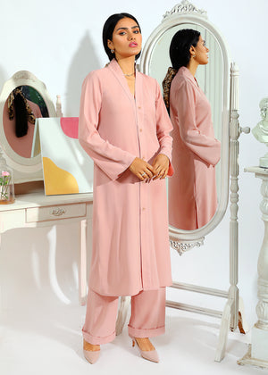 Tea Pink Co Ord Set with Shawl Collar