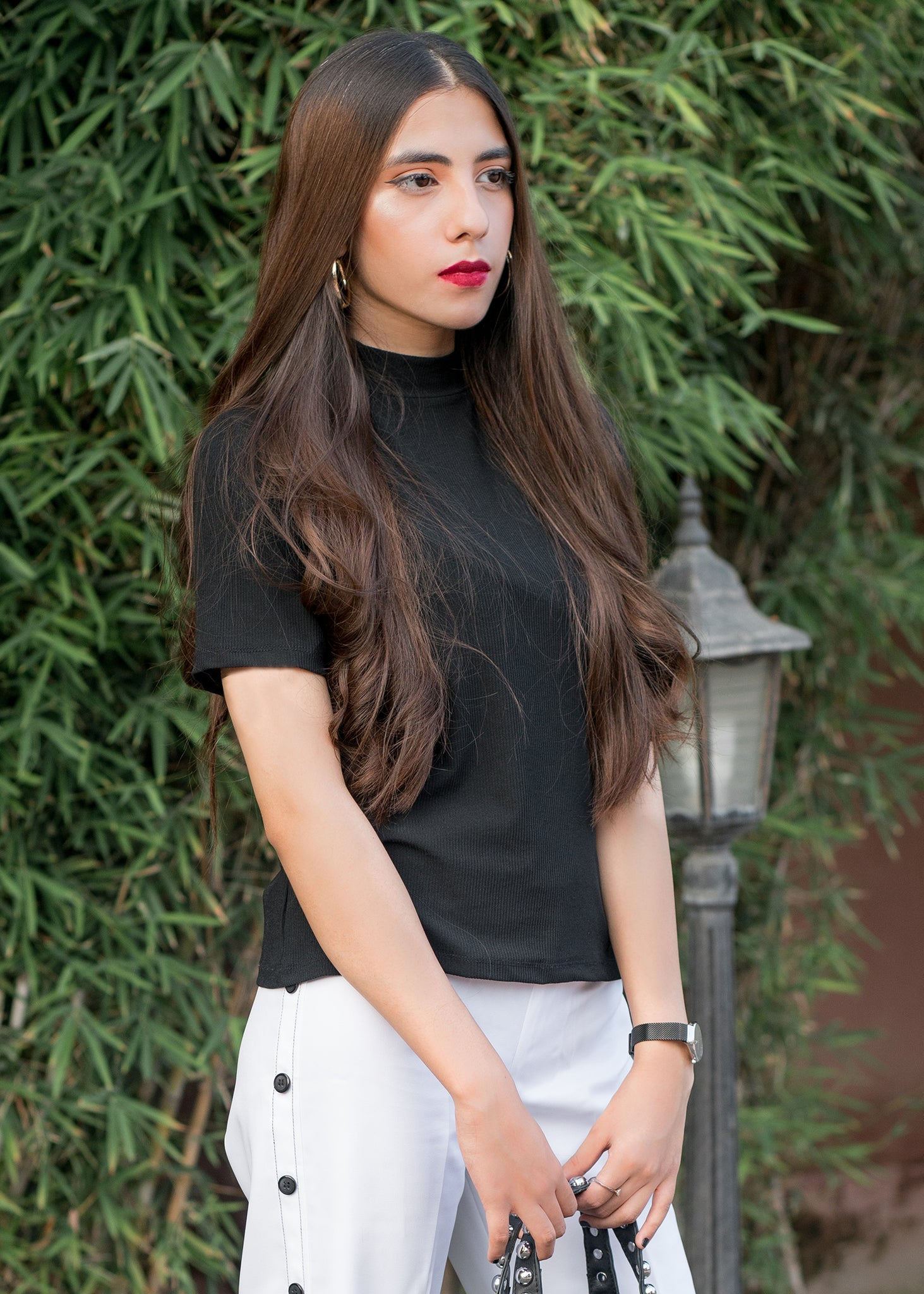 Black Mock Neck Shirt